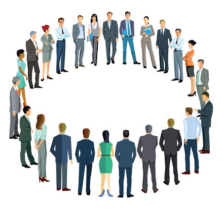 convention: Business people forming a circle Illustration