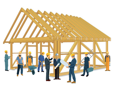worker person: House construction with carpenter and craftsmen