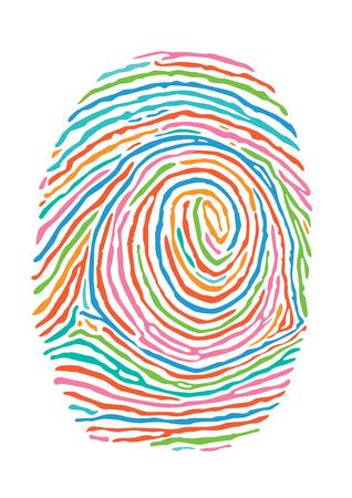 secure: Color fingerprint. Secure identification Illustration