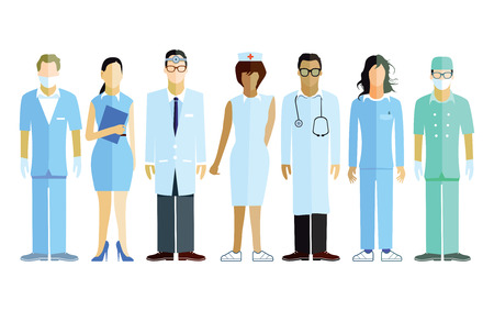 medical doctors: Group of doctors and nurses and medical staff