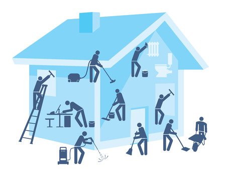 House and garden cleaning Illustration