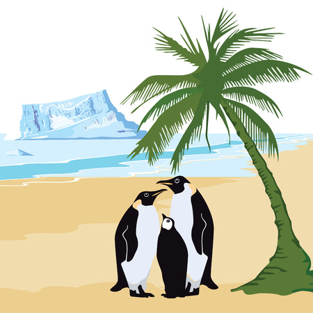 berg: Climate warming with penguin and palm