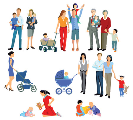 Baby, Parents, Generation and Family Vectores