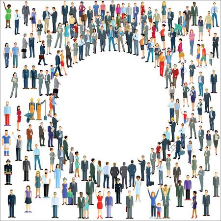 sociable: People crowd around a circle Illustration