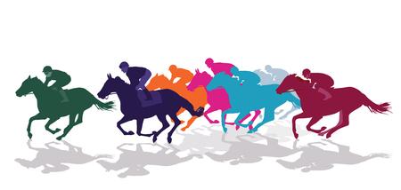 Jockeys racing with horses 일러스트