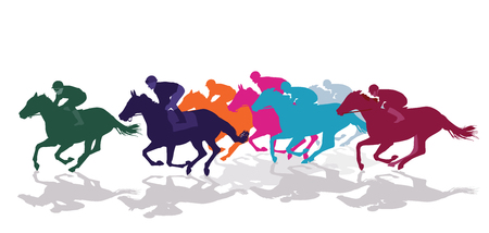 Jockeys racing with horses