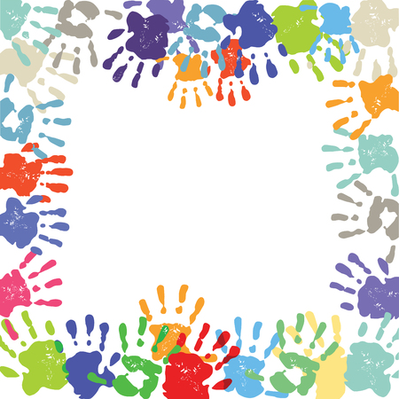 human finger: Childrens Colorful handprints