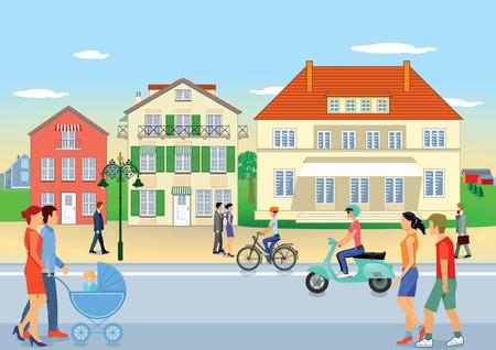 Street in the suburbs Illustration