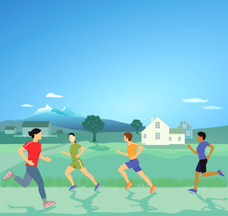 quickness: Sporty running in nature Illustration