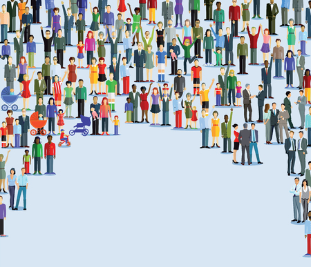 sociable: Large quantities of human are grouped together