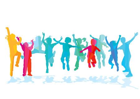 diversion: Los niños divertidos saltan y parecen felices Vectores