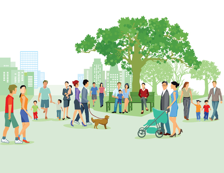 leisure time: Leisure time with the family in the city Illustration