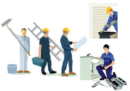 Artisan, installateur, plombier et architecte Vecteurs