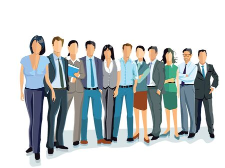 team group: Group of business men and women. Business team and teamwork Illustration