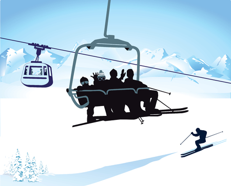 chairlift: Skiing and chairlift in winter