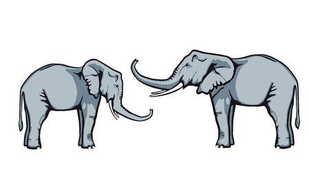 glad: Friendly elephants in trust, illustration