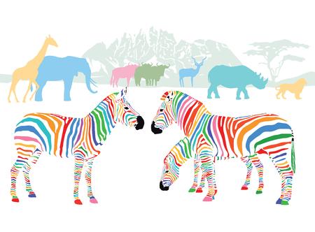 animales silvestres: Los colores de los animales salvajes en la sabana Vectores