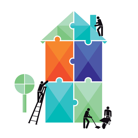 House construction puzzle isolated on white Illustration
