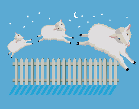 Sheep count at night illustration