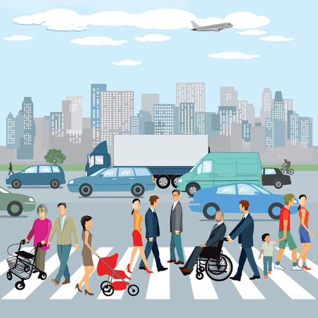 People walking on the crosswalk in the city. illustration