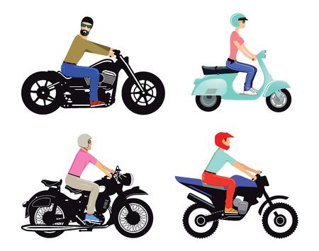 Motorcyclists on different types and models