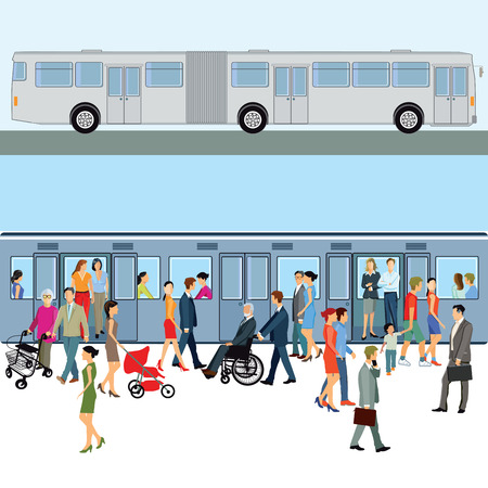 passenger transportation: Subway station with passengers and audience