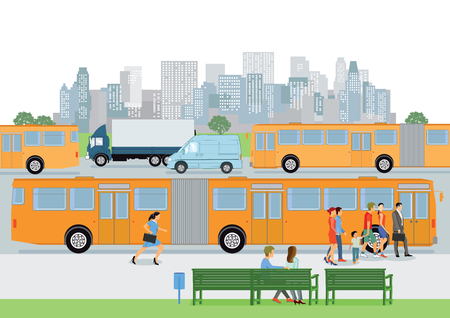 disembark: Bus stop with bus & passengers
