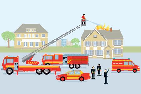 Fire brigade and fireman. Red firetruck Illustration