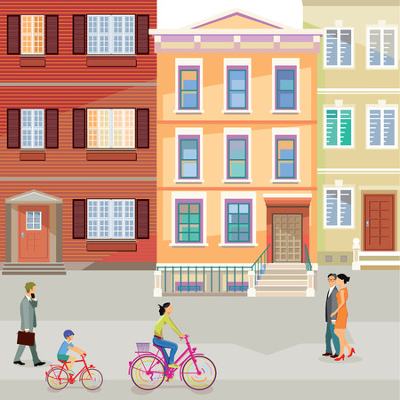 suburban street with pedestrians and cyclists