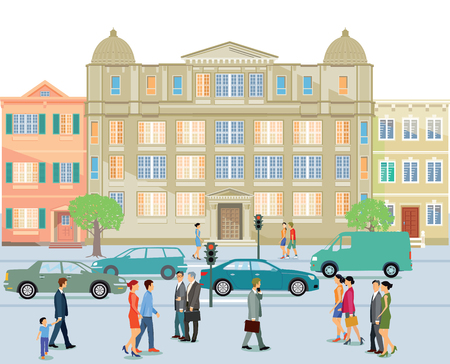 crossing street: Street with school building and pedestrian. Illustration
