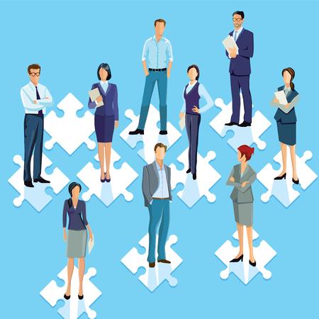 Staff group puzzle connecting illustration Illustration