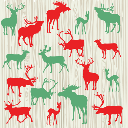 Illustration of red and green deer, reindeer and elk
