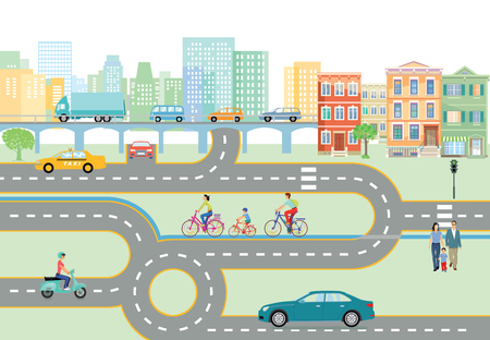 Community with road traffic, transportation, vector illustration