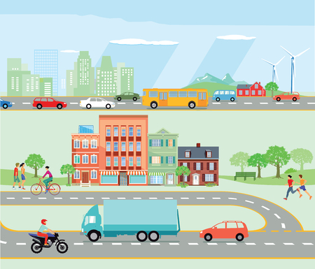 relationships human: Road traffic with bypass road and motorway illustration