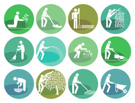 frontyard: gardening icons set Object illustration
