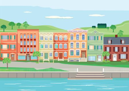 Seamless scene with houses along river illustration Фото со стока - 76174494
