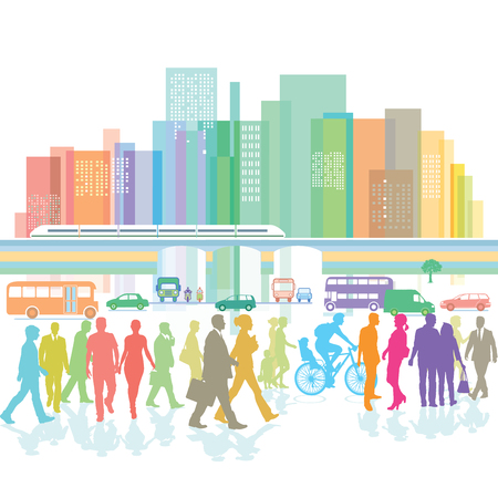 municipality: Large city with pedestrian and road traffic Illustration