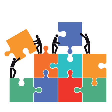Cooperation in the group icon illustration Illustration