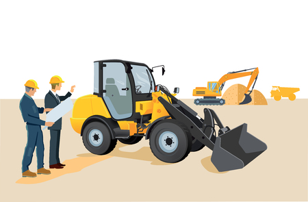 shifting: Construction site with wheel loaders and excavators Illustration