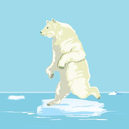 Ijsbeer op een klein ijsje, illustratie Stock Illustratie