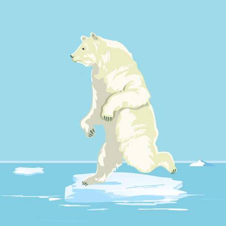 Polar bear on a small ice floe, illustration Illustration