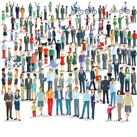 Large group of people standing together illustration