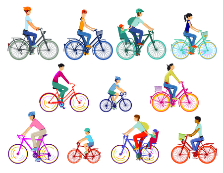 Cyclist group illustration, isolated