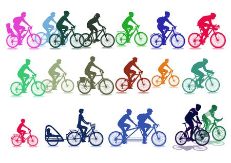 felicity: Cyclist set illustration, isolated