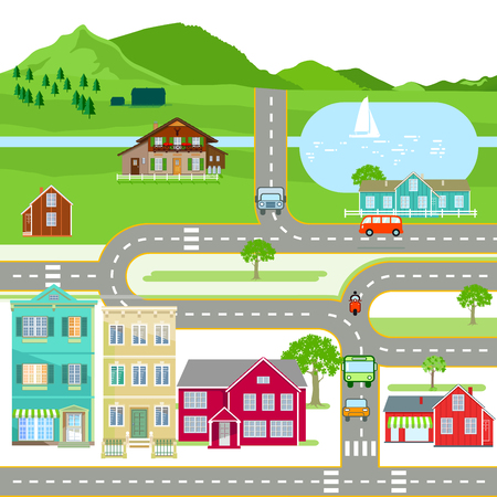 Scene with houses and road traffic, illustration