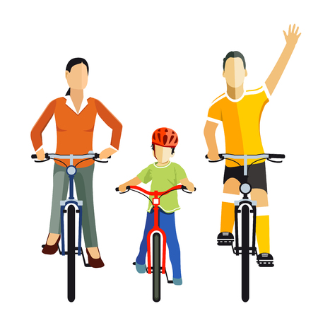 Cycling with Family, illustration Ilustrace