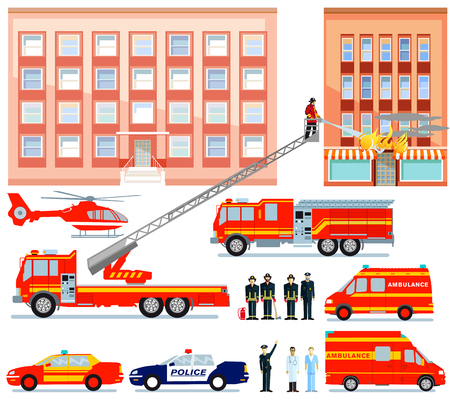 Fire brigade and ambulance at rescue service, illustration