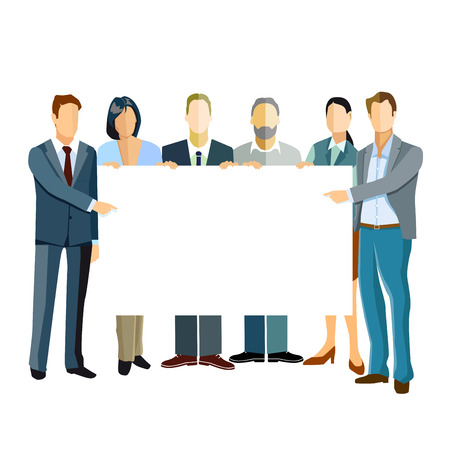 Group of business people presenting a template.