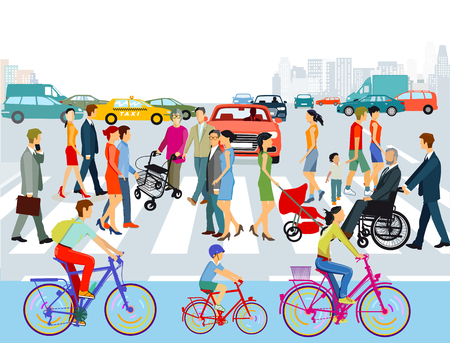 People on the crosswalk in the city. illustration