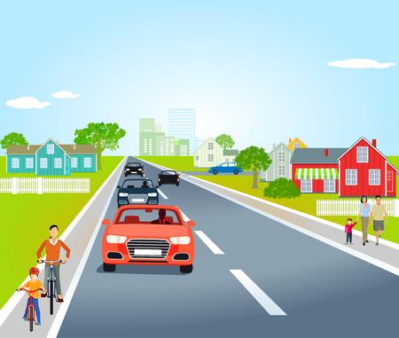 Landweg in een dorp, illustratie Vector Illustratie